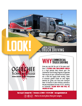 Commercial truck driving program flyer cover